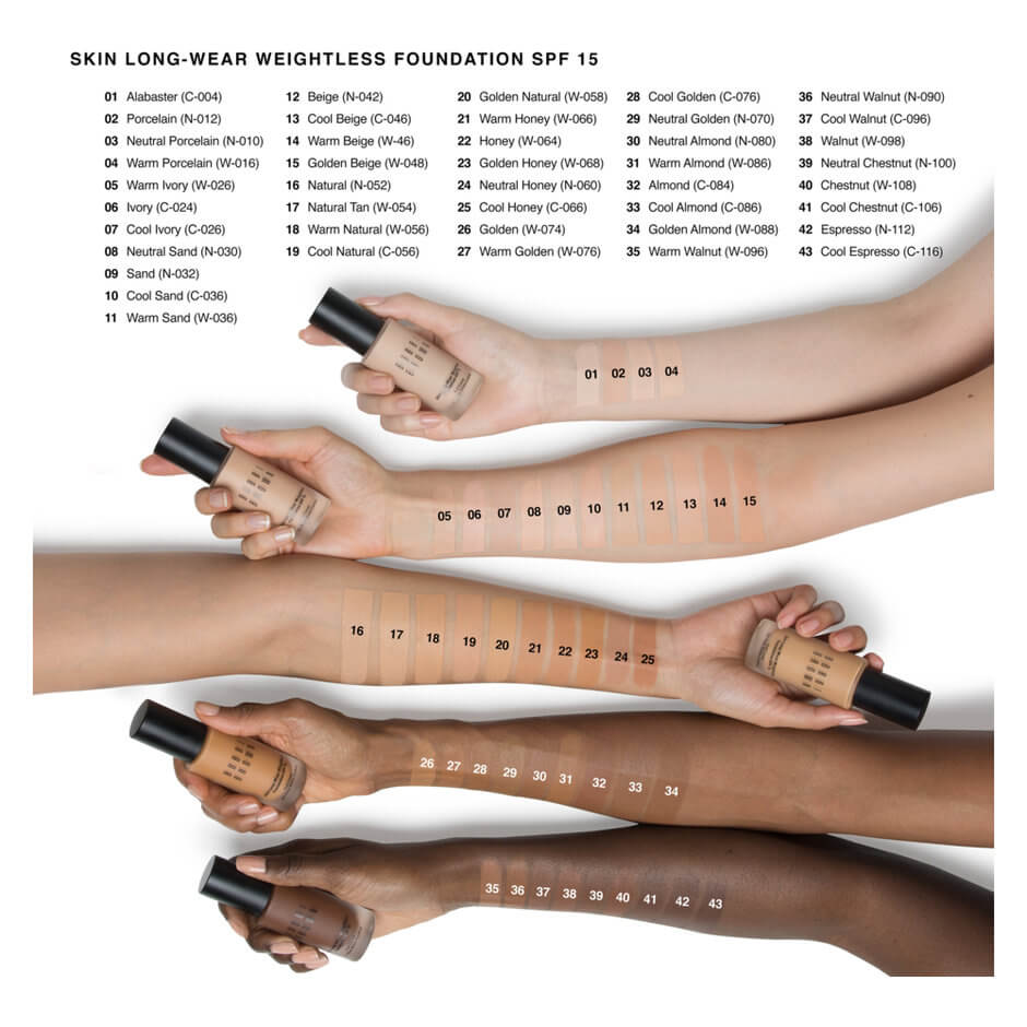 Bobbi Brown Skin Long Wear Foundation Swatches